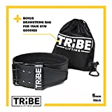 Weight-Lifting-Belt-for-Men-and-Women-BONUS-Drawstring-Bag-5mm-Black-Leather-Double-Prong-for-Weightlifting-Power-Lifting-Cross-Fit-and-Lower-Back-Support