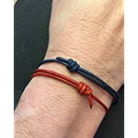 Genuine Leather Cord Bracelet, Adjustable, Men's Bracelet, Blue Bracelet, Red Cord Bracelet, Love, Friendship, Wedding, Graduation, Gift idea, Mothers Day Gift, Fathers Day Gift