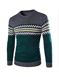Elonglin Mens Jumper Long Sleeve Sweaters Knitted Pullover Aztec Pattern