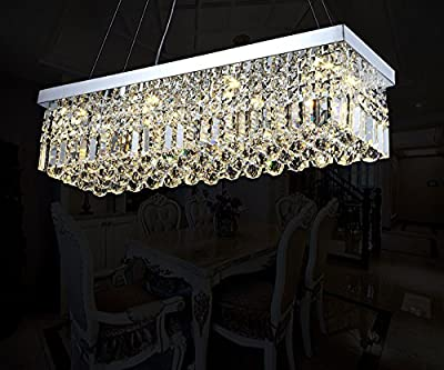 "7PM W40"" x D10"" Modern Rain Drop Rectangle Clear K9 Crystal Chandelier Pendant Lamp Lighting Fixture 8 Lights for Dining Living Bedroom Room (Chrome Frame)"