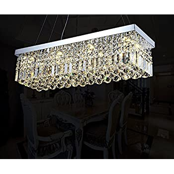 Modern clear crystal chandelier lighting rectangular pendant lamp 7pm w40 x d10 modern rain drop rectangle clear k9 crystal chandelier pendant lamp aloadofball Image collections
