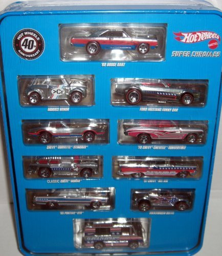 Chrome Tin (40th Anniversary Hot Wheels Super Chromes Tin with 10 Cars)