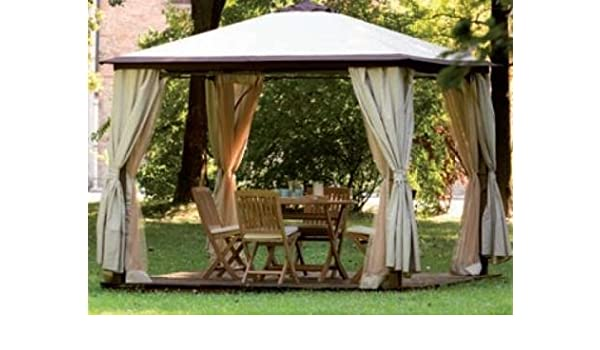 Cenador 3 x 3 Viterbo postes de madera completo de cortinas ...