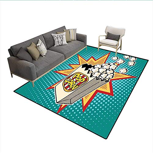 Area Rug Movie Theater Halftone Background with Retro Style Colorful Popcorn Design Cinema Snacks Multicolor 6'x8' Carpet ()
