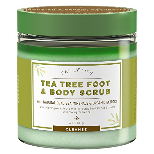 Calily Life Organic Anti Fungal Tea Tree Body & Foot Scrub with Dead Sea Minerals, 24 Oz. – Gentle Exfoliating, Cleansing Moisturizing - Helps for Cellulite, Acne, Jock Itch, Warts, etc. [ENHANCED]