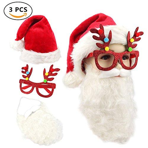 Santa Hat Christmas Cap with Santa Beard and Reindeer - A Beard Glasses With
