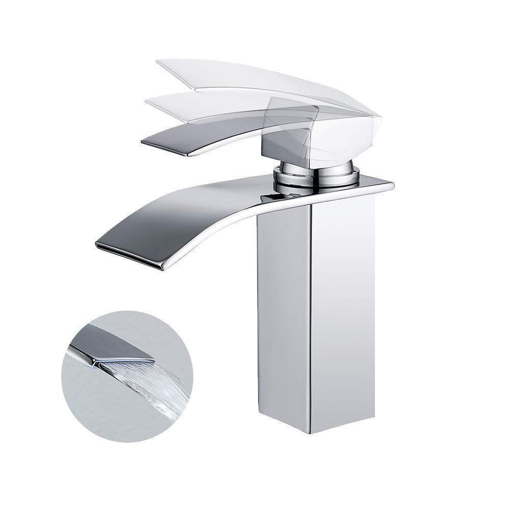 Suguword LED Light Bathroom Basin Tap with Temperature Sensor Hydroelectric Power Waterfall Bathroom Sink Faucet Basin Mixer Tap Brass Fitting - More Secure for Basin Sink in Bathroom Toilet Kitchen