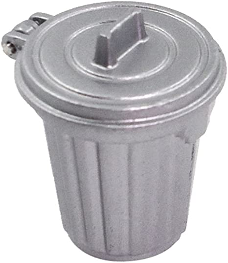 Dollhouse Miniature Indoor Garbage Can Trash Bin in White Plastic MUL4374