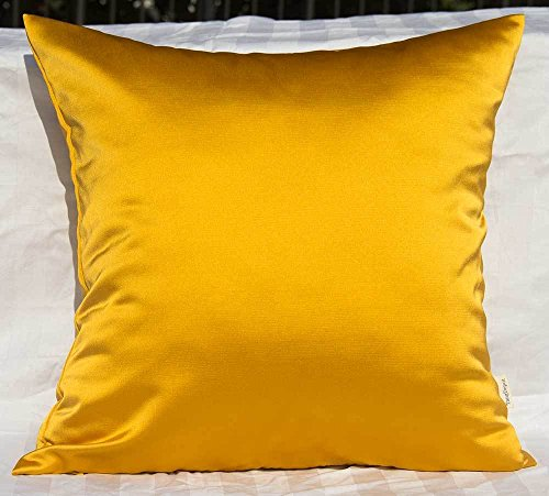 TangDepot Solid Heavy Satin Decorative Throw Pillow Cover, Euro Pillow Shams, European Throw Pillow Covers, Indoor/Outdoor Cushion Covers - (26