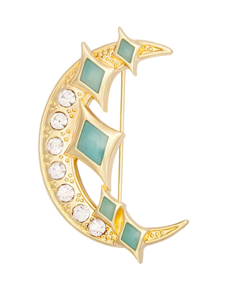 TUSHUO Crescent Rhinestone Moon and Shiny Star Fashion Brooch Pin Glow-in-the-dark