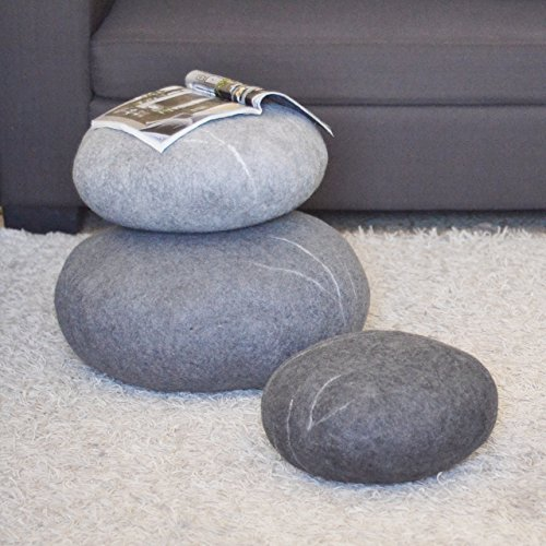 Felted wool stones Ottoman Floor cushions Pouf Floor pillows Seat cushions  Furniture Decorative pillows Gray Set