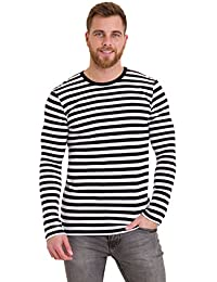 Mens 60's Retro Black & White Striped Long Sleeve T Shirt
