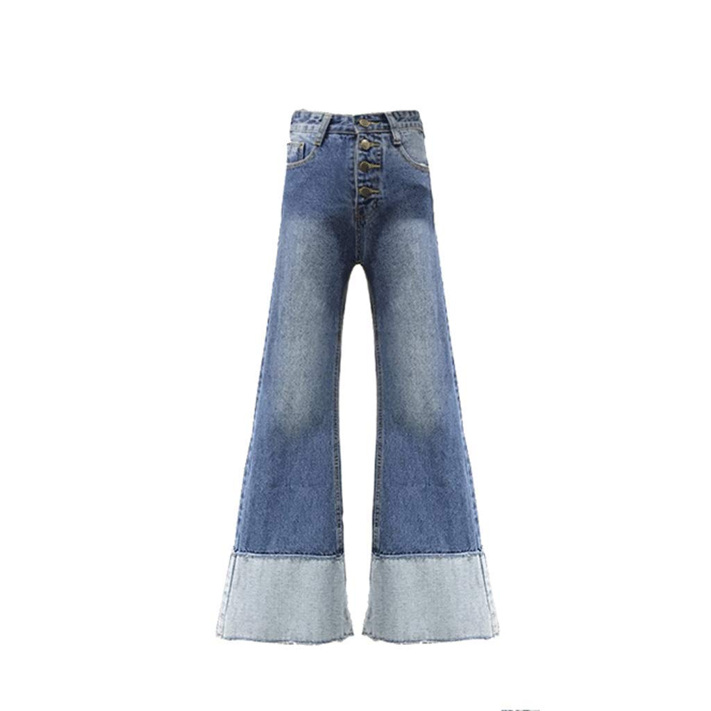 bluee Flare Jeans Woman Slim Slimming Jeans Retro Fashion Trousers