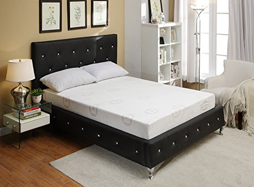 AC Pacific Modern Queen Size Upholstered and Crystal Tufted Bed With Headboard, Queen Size, Black