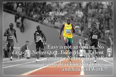"""""""Easy is not an option""""..Usain Bolt's Quotes Poster Print (12 x 18 inch , Rolled) By A-ONE POSTERS"""