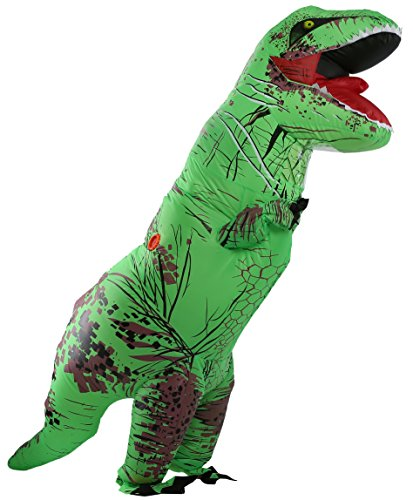 Perfect Jurassic park dinosaur giant t-rex dinosaur inflatable costumes for Adults Green AS