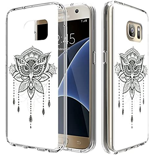 S7 Case, MagicSky [Air Hybrid] Shock-Absorbing Anti-Scratch Ultra Slim Bumper Case with Clear Back Panel Cover for Samsung Galaxy S7 (Black Owl/ White) Sales