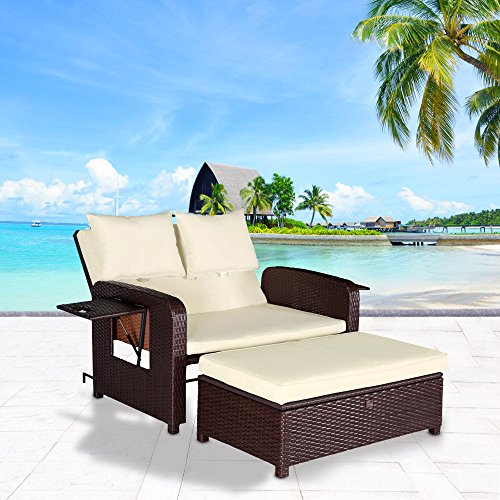 Cloud Mountain 2 Piece Rattan Wicker Love Seat Sofa Daybed Set Outdoor Patio Love Seat with Ottoman Chaise Lounge Chair, Creamy White Cushions with Cocoa Brown Rattan (Outdoor Bed Furniture)