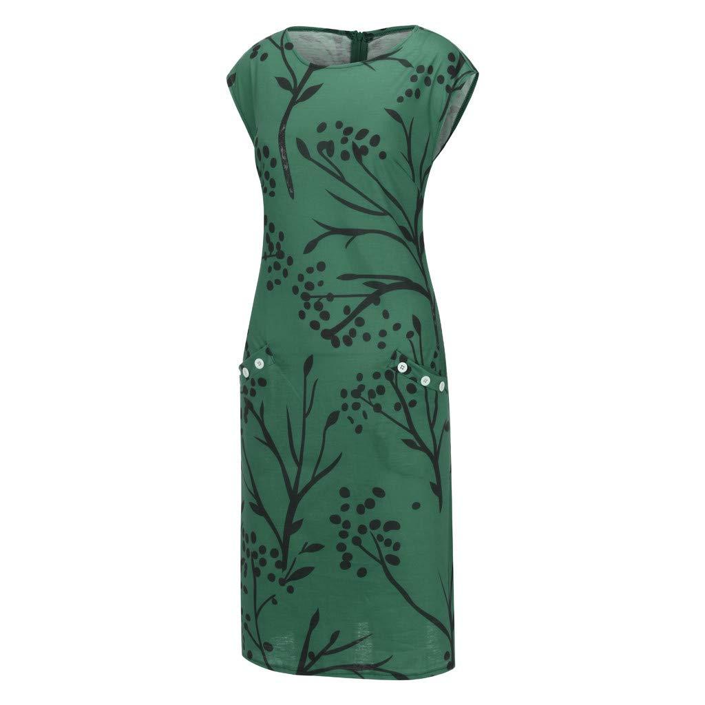 Ansenesna Wedding Guest Fashion Women O-Neck Short Sleeve Botton Floral Printed Pocket Casual Dress