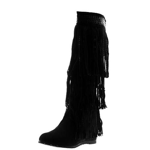 Angkorly Zapatillas Moda Botas Botas Mocasines Cavalier Folk Mujer Fleco Strass Trenzado Plataforma 7 cm Ligeramente Forrada de Piel: Amazon.es: Zapatos y ...