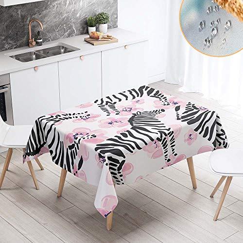 Chickwin Mantel para Mesa Impermeable Antimanchas, Nordico Rectangular Resistente Desgaste Lavable Mantel de Tela de Poliester para Cocina Salon Comedor Decoracion (140x180cm,Cebra Rosa)