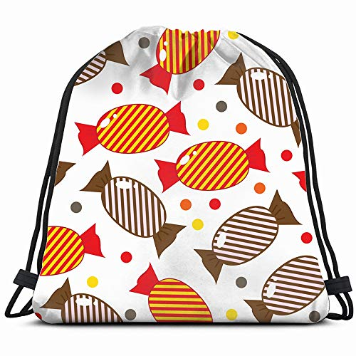 Vintage Sweets Candy Illustrations Clip Art Drawstring Backpack Bag Sackpack Gym Sack Sport Beach Daypack For Girls Men & Women Teen Dance Bag Cycling Hiking Team Training