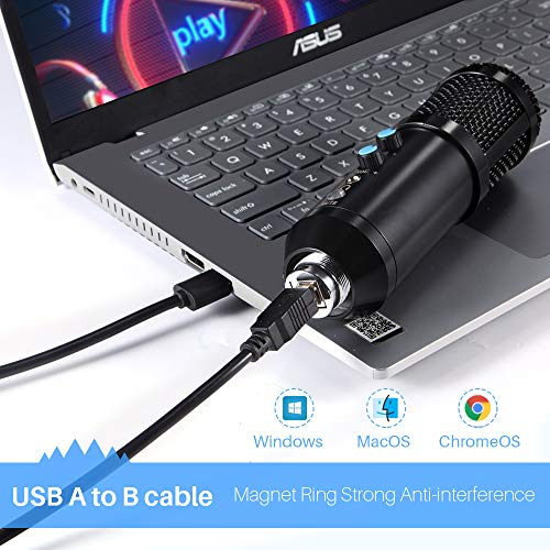 Compatible with Desktop PC Plug/&Play Streaming Vocal Voice Studio Recording Condenser Mic with Button Laptop,Mac- Ideal for YouTube,Skype,Recording,Gaming,Podcast HQDA USB Microphone for Computer