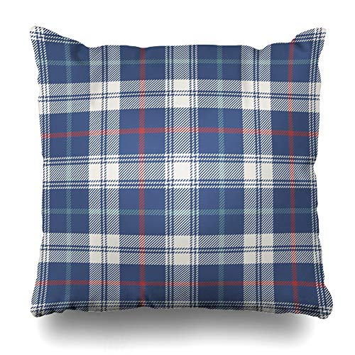 (Ahawoso Throw Pillow Cover Square 20x20 Inches Red Blue Check Pattern Plaid Vintage Gingham Madras Classic Preppy Swatches Design Zippered Cushion Pillow Case Home Decor)