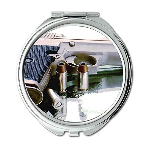 Yanteng Mirror,Makeup Mirror,Gun Blue,Round Mirror,Gun,Pocket Mirror,Portable -