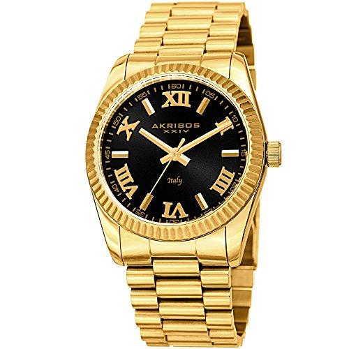 Italian Yellow Wrist Watch - Akribos XXIV Men's AK1034YGBK Italian Designed Black & Yellow Gold Stainless Steel Bracelet Watch