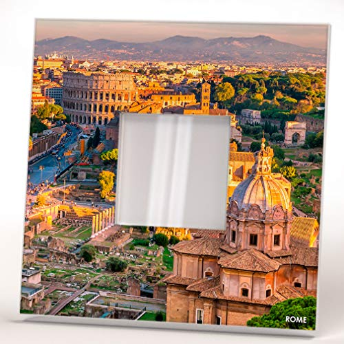 Colosseum of Rome Skyline Top View Roma Italy Wall Framed Mirror Printed Decor Home Design ()