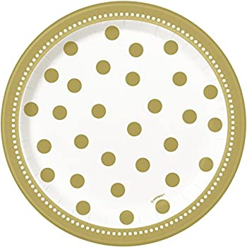 Golden Birthday Dessert Plates, 8ct