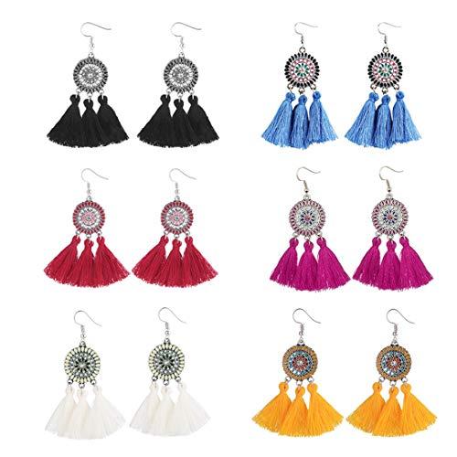 6 Pairs Colorful Statement Tassel Earrings, Handmade Bohemian Ethnic Fringe Dangle Earrings with Fish Hook for Women Girls