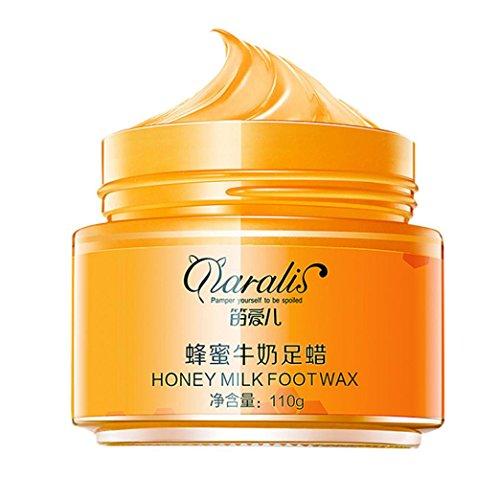 (Foot Wax,Enjocho 110g Honey Milk Moisturizing Foot Wax Exfoliating Dead Skin Cream Whitening Mask (Orange))