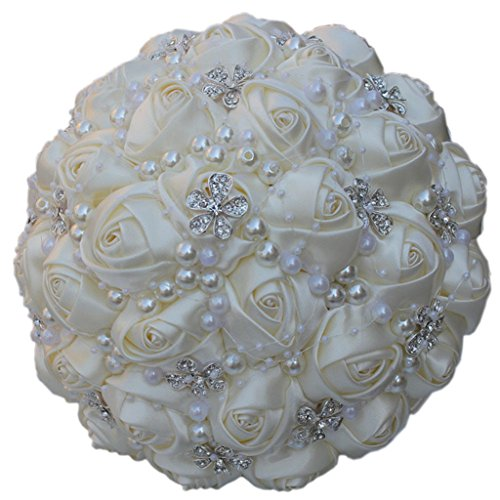 S-SSOY Wedding Bouquet Bride Bridal Brooch Bouquets Bridesmaid Bouquet Diamond Pearl Ribbon Valentine's Day Confession Party Church with Free Corsage Flower, Ivory White