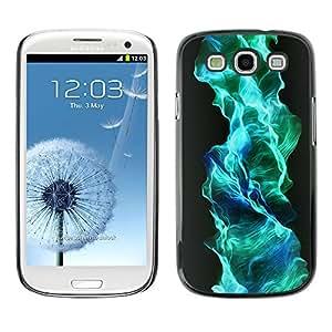 KOKO CASE / Samsung Galaxy S3 I9300 / flujo de gas azul turquesa wallpaper llama / Delgado Negro Plástico caso cubierta Shell Armor Funda Case Cover