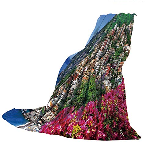 Amalfi Sofa (SCOCICI Super-Thick Flannel Warm Sofa or Bed Blanket,Italy,Scenic View of Positano Amalfi Naples Blooming Flowers Coastal Village Image,Pink Green Blue,39.37