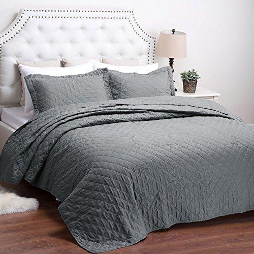 "Bedsure Bed Quilts Solid Grey Bedspread Diamond Pattern Coverlet Full/Queen(86""x96"") 3-Piece Lightweight Hypoallergenic Microfiber Dominique"