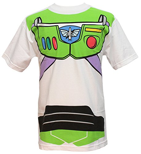 Toy Story Buzz Lightyear Astronaut Costume Adult T-shirt (Medium) White -