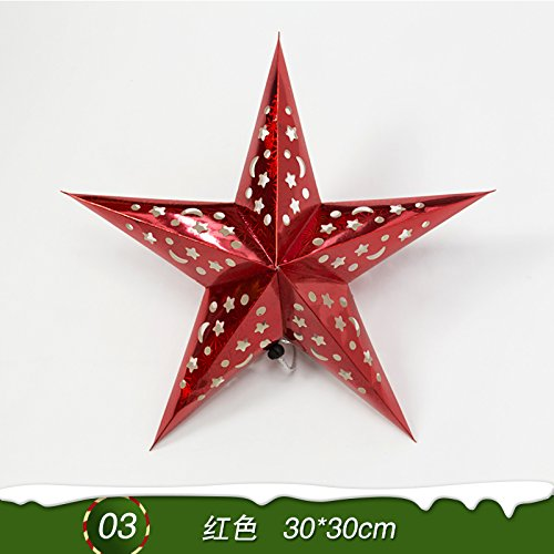 Y-Hui Star Nine Star Bar Mall Festive Arrangement of Decorative Accessories Christmas Ornaments Origami Stars,Laser Star Pointed Red 30*30