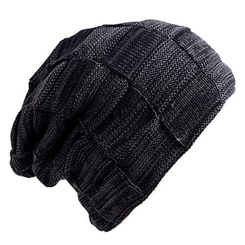 Senker Slouchy Beanie Knit Cap Winter Soft Thick Warm Hats for Men and Women,A-black,One Size