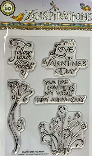 - Impression Obsession IO Follow Your Heart Clear Cling Rubber Stamp Set CL574