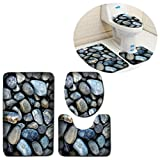 U-shaped Bathroom Mats Carpet Bath Shower rugs Non Slip Extra Soft Perfect for Doormats, Tub, Shower (blue stone)