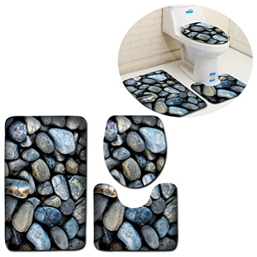 U-shaped Bathroom Mats Carpet Bath Shower rugs Non Slip Extra Soft Perfect for Doormats, Tub, Shower (blue stone) by Mrsrui