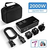 ECOACE 2000W Voltage Converter with 4 USB Ports,Set Down 220V to 110V Power