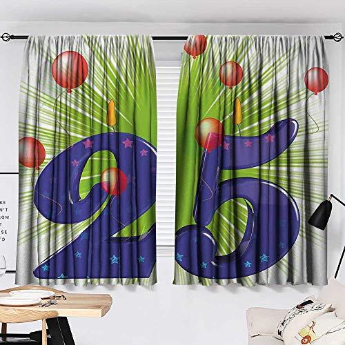Jinguizi 25th Birthday Bedroom/Living Funky Vibrant Twenty Five with Stars Candle Balloons Art Print Insulating Darkening Curtains Purple Green Dark Coral W55 x L39 by Jinguizi (Image #1)