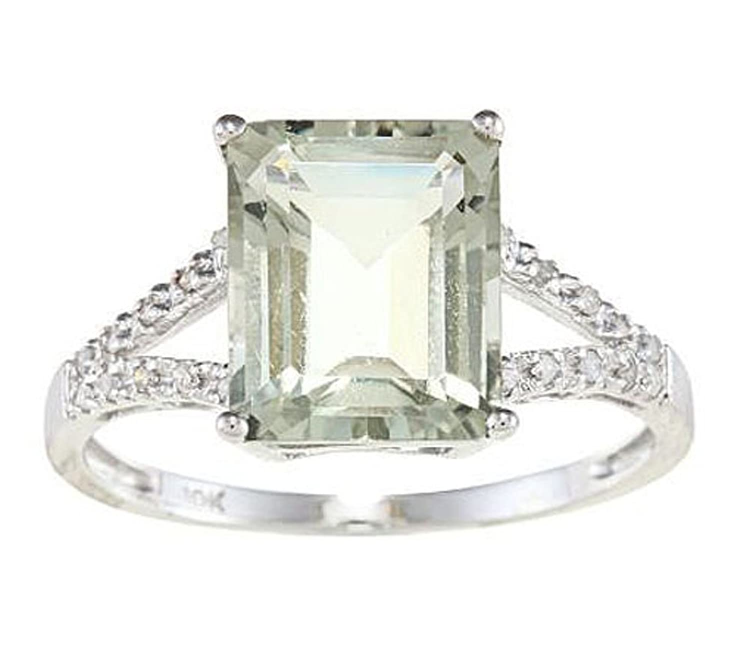 10k White Gold Oval 5.20ct Green Amethyst and Diamond Halo Ring G-H, I1-I2