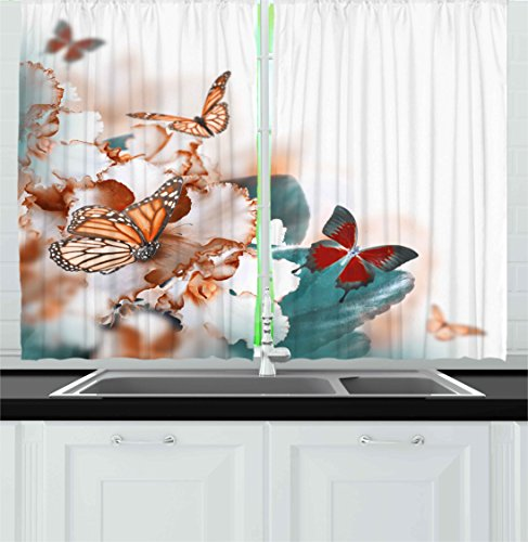 Ambesonne Nature Kitchen Curtains, Colorful Butterflies Flying Over Violet Petals Flowers Spring Beauty Illustration, Window Drapes 2 Panels Set for Kitchen Cafe, 55 W X 39 L Inches, Multicolor