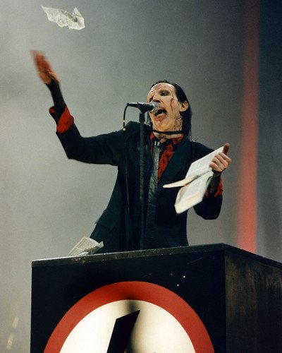 Marilyn Manson in suit on stage performing 16x20 Poster