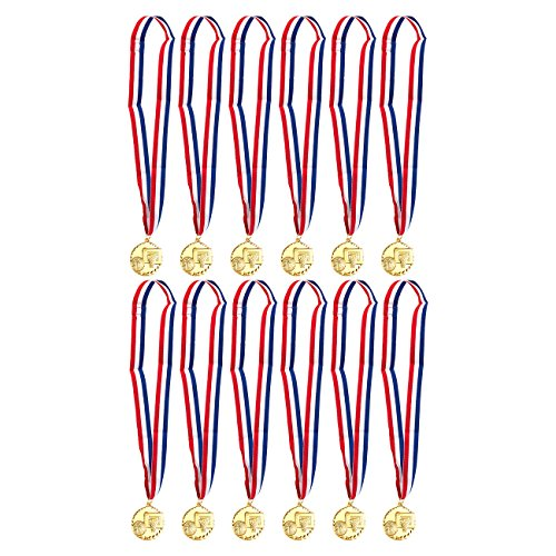 (Juvale Gold Basketball Medals - 12-Pack - Winner Medals for Sport Game, Kids, Awards, 2 Inches in Diameter with 31-Inch Ribbon )